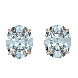 7 CTW Sky Blue Topaz Designer Inspired Solitaire Stud Earrings 14K Rose Gold - REF-27N6Y - 21685