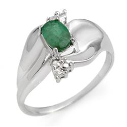 0.39 CTW Emerald & Diamond Ring 14K White Gold - REF-26W5F - 11655