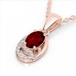 1.25 CTW Garnet & Micro Pave VS/SI Diamond Necklace 10K Rose Gold - REF-18Y9K - 22351