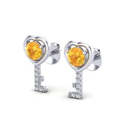 0.60 CTW Citrine & VS/SI Diamond Micro Pave Key Of Heart Earrings 14K White Gold - REF-20H8A - 22666