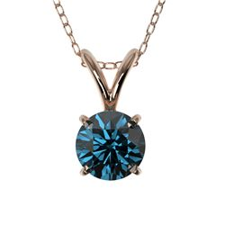 0.50 CTW Certified Intense Blue SI Diamond Solitaire Necklace 10K Rose Gold - REF-51M2H - 33160