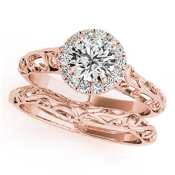 0.62 CTW Certified VS/SI Diamond Solitaire 2Pc Wedding Set Antique 14K Rose Gold - REF-110N9Y - 3148