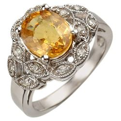 3.75 CTW Yellow Sapphire & Diamond Ring 10K White Gold - REF-63K6W - 10859