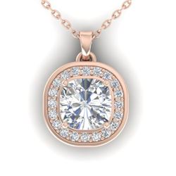 1.25 CTW Cushion Cut Certified VS/SI Diamond Art Deco Necklace 14K Rose Gold - REF-402N9Y - 30340
