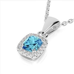 1.25 CTW Sky Blue Topaz & Micro VS/SI Diamond Halo Necklace 10K White Gold - REF-27X3T - 22892