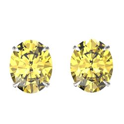 5 CTW Citrine Designer Inspired Solitaire Stud Earrings 18K White Gold - REF-33H3A - 21658