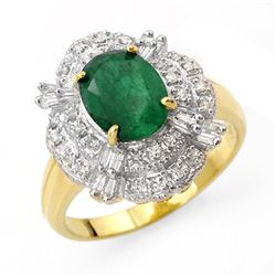 3.31 CTW Emerald & Diamond Ring 14K Yellow Gold - REF-81Y8K - 13078