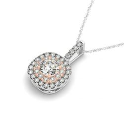 1.15 CTW Certified SI Diamond Solitaire Halo Necklace 14K White & Rose Gold - REF-187N6Y - 29962