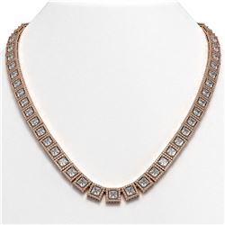 41.80 CTW Princess Diamond Designer Necklace 18K Rose Gold - REF-7719K3W - 42723