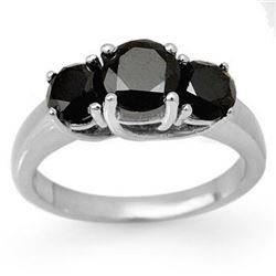 2.50 CTW VS Certified Black & White Diamond 3 Stone Ring 18K White Gold - REF-83M3H - 13498