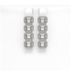 5.92 CTW Emerald Cut Diamond Designer Earrings 18K White Gold - REF-1259M6H - 42845