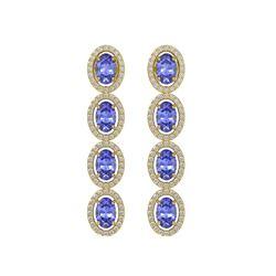 6.09 CTW Tanzanite & Diamond Halo Earrings 10K Yellow Gold - REF-122Y2K - 40513