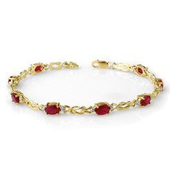 5.48 CTW Ruby & Diamond Bracelet 10K Yellow Gold - REF-34H5A - 14077