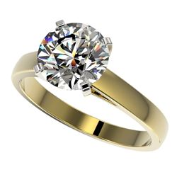 2.55 CTW Certified H-SI/I Quality Diamond Solitaire Engagement Ring 10K Yellow Gold - REF-729W2F - 3