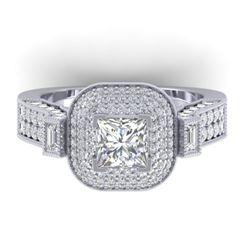2.85 CTW Princess VS/SI Diamond Art Deco Micro Halo Ring 14K White Gold - REF-555X5T - 30444