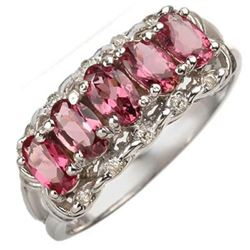 1.15 CTW Pink Tourmaline & Diamond Ring 10K White Gold - REF-24X5T - 10772
