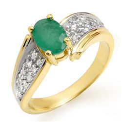 1.43 CTW Emerald & Diamond Ring 10K Yellow Gold - REF-50X2T - 13378
