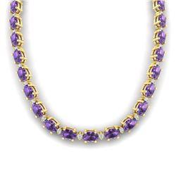 46.5 CTW Amethyst & VS/SI Certified Diamond Eternity Necklace 10K Yellow Gold - REF-226W2F - 29415