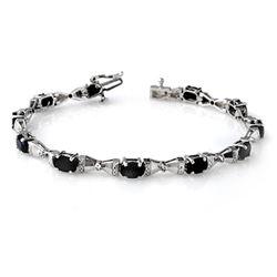 7.11 CTW Blue Sapphire & Diamond Bracelet 10K White Gold - REF-60M8H - 14126