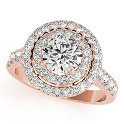3 CTW Certified VS/SI Diamond Solitaire Halo Ring 18K Rose Gold - REF-796T4M - 26887