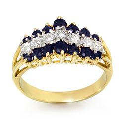 1.02 CTW Blue Sapphire & Diamond Ring 10K Yellow Gold - REF-27Y3K - 12326
