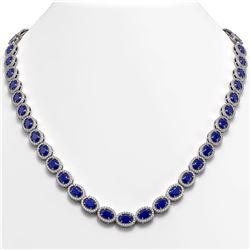 34.11 CTW Sapphire & Diamond Halo Necklace 10K White Gold - REF-537F5N - 40406
