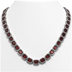 60.59 CTW Garnet & Diamond Halo Necklace 10K White Gold - REF-676M5H - 41375