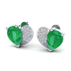 2.50 CTW Emerald & Micro Pave VS/SI Diamond Earrings 10K White Gold - REF-34X5T - 20072