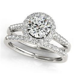 0.96 CTW Certified VS/SI Diamond 2Pc Wedding Set Solitaire Halo 14K White Gold - REF-140M2H - 30783