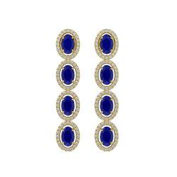 6.47 CTW Sapphire & Diamond Halo Earrings 10K Yellow Gold - REF-109Y5K - 40510