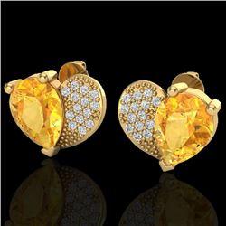 2.50 CTW Citrine & Micro Pave VS/SI Diamond Earrings 10K Yellow Gold - REF-30K2W - 20071