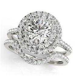 1.45 CTW Certified VS/SI Diamond 2Pc Set Solitaire Halo 14K White Gold - REF-228F2N - 30680