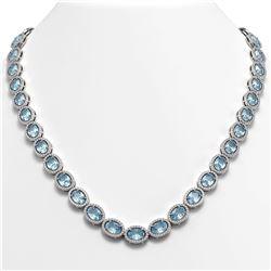 55.41 CTW Sky Topaz & Diamond Halo Necklace 10K White Gold - REF-636T4M - 40583