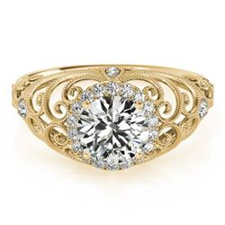 1.22 CTW Certified VS/SI Diamond Solitaire Halo Ring 18K Yellow Gold - REF-387Y5K - 26556
