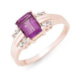 1.41 CTW Amethyst & Diamond Ring 18K Rose Gold - REF-35M3H - 13557