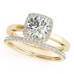 0.83 CTW Certified VS/SI Diamond 2Pc Wedding Set Solitaire Halo 14K Yellow Gold - REF-124F4N - 30731