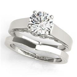 0.75 CTW Certified VS/SI Diamond Solitaire 2Pc Wedding Set 14K White Gold - REF-187H3A - 31856