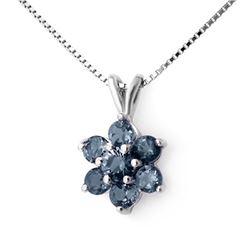 1.10 CTW Blue Sapphire Pendant 18K White Gold - REF-18Y2K - 12698