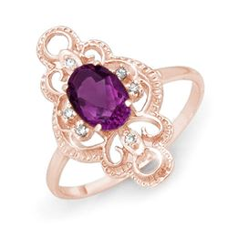 0.80 CTW Amethyst & Diamond Ring 14K Rose Gold - REF-23K3W - 12569