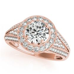 1.45 CTW Certified VS/SI Diamond Solitaire Halo Ring 18K Rose Gold - REF-241X8T - 26716