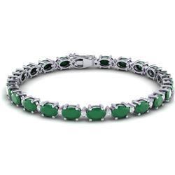 30.8 CTW Emerald & VS/SI Certified Diamond Eternity Bracelet 10K White Gold - REF-214X5T - 29450