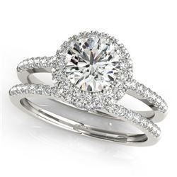 1.25 CTW Certified VS/SI Diamond 2Pc Wedding Set Solitaire Halo 14K White Gold - REF-204W2F - 30924