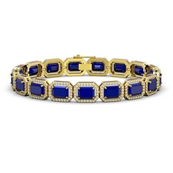 26.21 CTW Sapphire & Diamond Halo Bracelet 10K Yellow Gold - REF-326X9T - 41386