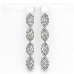 6.08 CTW Marquise Diamond Designer Earrings 18K White Gold - REF-1136T2M - 42746