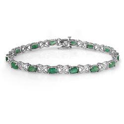 6.85 CTW Emerald & Diamond Bracelet 14K White Gold - REF-72Y9K - 13892