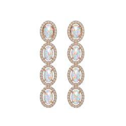 4.05 CTW Opal & Diamond Halo Earrings 10K Rose Gold - REF-112H8A - 40518