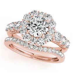 2.51 CTW Certified VS/SI Diamond 2Pc Wedding Set Solitaire Halo 14K Rose Gold - REF-450X8T - 30724
