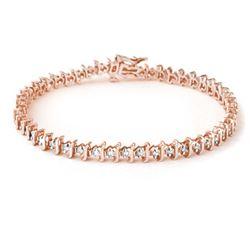1.0 CTW Certified VS/SI Diamond Bracelet 18K Rose Gold - REF-126K5W - 13273