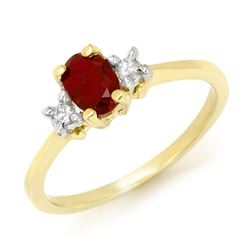 1.36 CTW Ruby & Diamond Ring 10K Yellow Gold - REF-31F8N - 13563