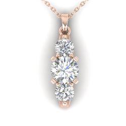 1.25 CTW Certified VS/SI Diamond Art Deco 3 Stone Necklace 14K Rose Gold - REF-193N3Y - 30481